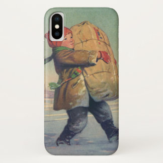 Coque iPhone X Noël vintage, enfant avec le grand paquet