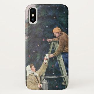 Coque iPhone X Noël vintage, famille ficelant des lumières sur
