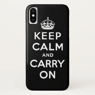 Coque iPhone X Noir et blanc gardez le calme et continuez