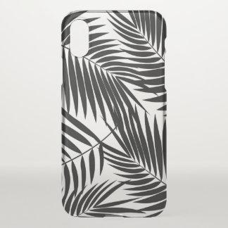 Coque iPhone X Noir tropical de feuille hawaïenne de paumes de