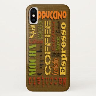 Coque iPhone X Noms de café sur la toile de jute pour tous les