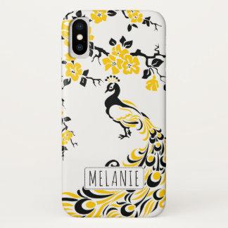 Coque iPhone X Nouveau jaune noir d'art de paon et de fleurs de