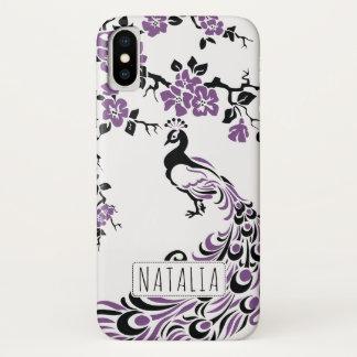 Coque iPhone X Nouveau pourpre noir d'art de paon et de fleurs de
