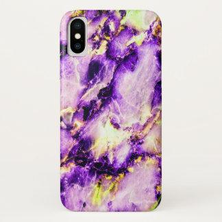 Coque iPhone X Or pourpre et cas de marbre rose de l'iPhone X de