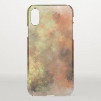 Coque iPhone X Orange, jaune et gris Brume-Comme le cas de