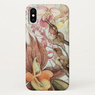 Coque iPhone X Orchidées tropicales vintages, fleurs et colibris