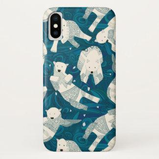 Coque iPhone X ours blancs arctiques bleus