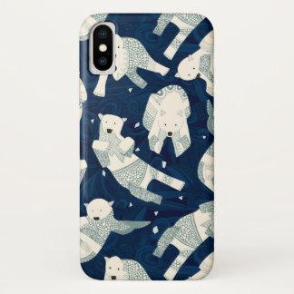 Coque iPhone X ours blancs arctiques de minuit