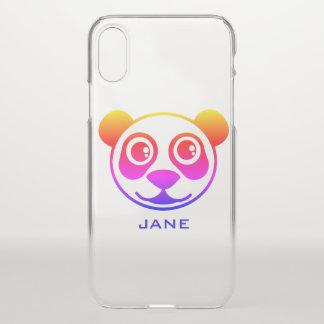 Coque iPhone X Panda d'arc-en-ciel personnalisé