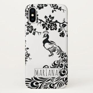 Coque iPhone X Paon et nouveau noirs et blancs d'art de fleurs de