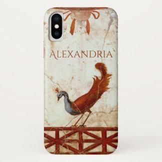 Coque iPhone X Paon sur la peinture antique romaine antique de