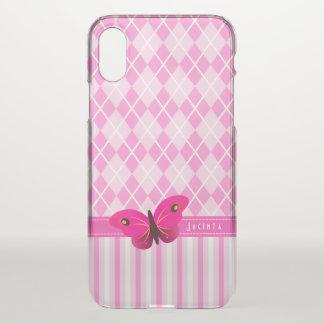 Coque iPhone X Papillon assez rose de Jacquard et de rayures