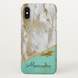 Coque iPhone X Parties scintillantes blanches et turquoises d'or