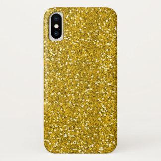 Coque iPhone X Parties scintillantes d'or de Faux