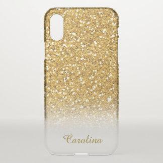 Coque iPhone X Parties scintillantes d'or translucides,