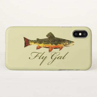Coque iPhone X Pêche de mouche de la truite de la femme