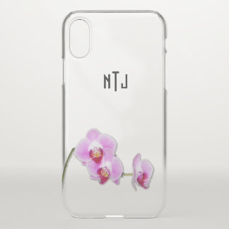 Coque iPhone X Photographie florale d'orchidée pourpre - BG