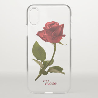 Coque iPhone X Photographie florale simple de rose rouge - BG