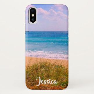 Coque iPhone X Plage avec le nom personnalisé par dunes