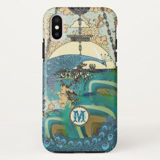Coque iPhone X Plumes vintages de lustre de paon de Nouveau d'art