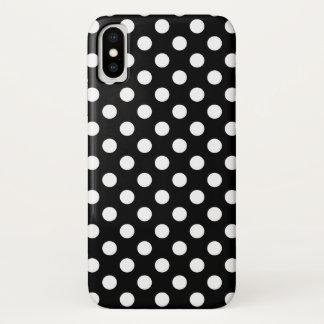 Coque iPhone X Pois blanc sur le noir