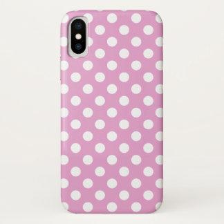 Coque iPhone X Pois blanc sur pâle - rose