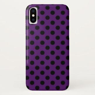 Coque iPhone X Pois noir sur le pourpre de prune