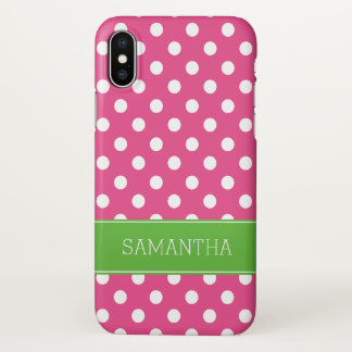Coque iPhone X Pois rose et vert de très bon goût personnalisé