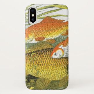 Coque iPhone X Poissons marins vintages de vie marine, poisson