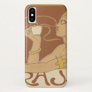 Coque iPhone X Raja vintage de café de Nouveau d'art, Madame