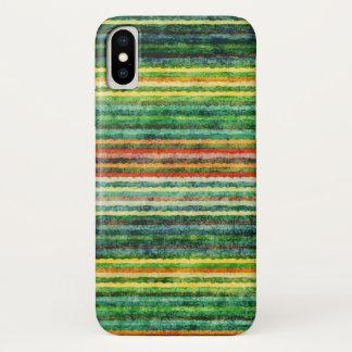 Coque iPhone X Rayures colorées d'arc-en-ciel grunges
