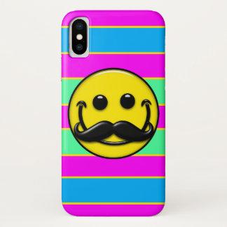 Coque iPhone X Rayures de smiley de moustache