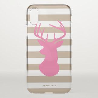 Coque iPhone X Rayures de toile de tête rose chique de cerfs