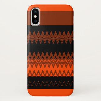 Coque iPhone X Rayures noires oranges de zigzag de Chevron