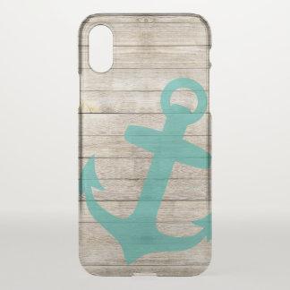 Coque iPhone X Regard nautique Girly d'ancre et en bois