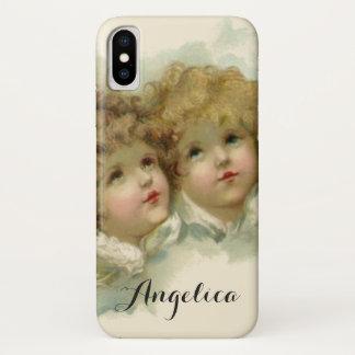 Coque iPhone X Religion vintage, anges victoriens dans les nuages