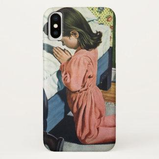Coque iPhone X Religion vintage, fille priant à l'heure du