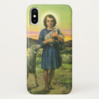 Coque iPhone X Religion vintage, garçon de berger avec des