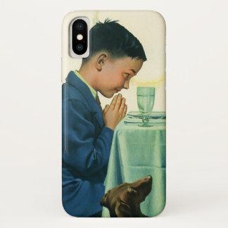 Coque iPhone X Religion vintage, garçon disant la grâce au