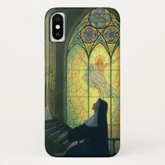 Coque iPhone X Religion vintage, nonne jouant l'organe dans