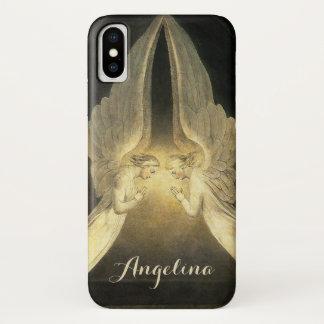 Coque iPhone X Religion vintage, portrait de prière d'anges
