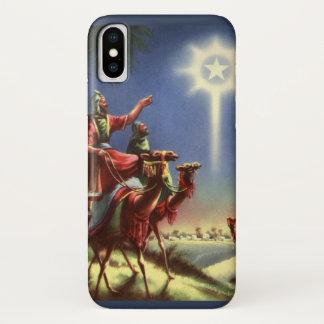 Coque iPhone X Religion vintage, sages avec l'étoile de Bethlehem