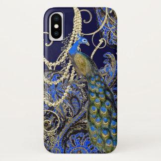 Coque iPhone X Remous de paon de noir de marine de guirlande d'or
