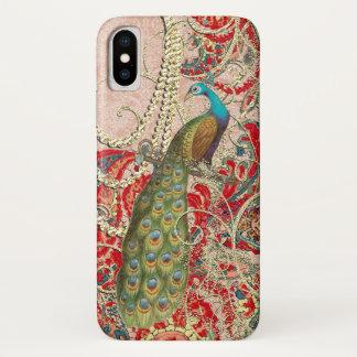 Coque iPhone X Remous rouge-rose de paon d'or