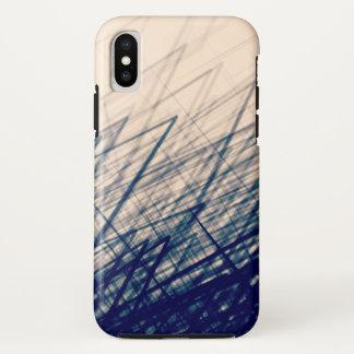 Coque iPhone X Rétro bleu empilé de contre-taille - iPhone/coque