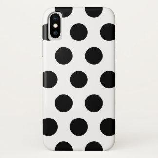 Coque iPhone X Rétro motif de pois noir et blanc