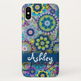 Coque iPhone X Rétro motif floral avec le nom