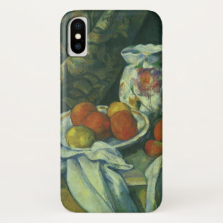 Coque iPhone X Rideau et broc fleuri par Paul Cezanne