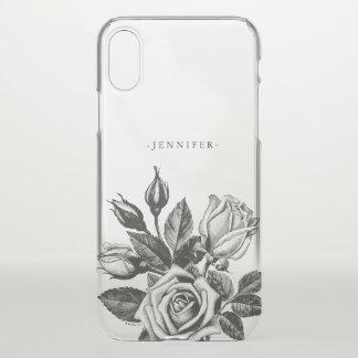 Coque iPhone X Roses de thé victoriens noirs vintages