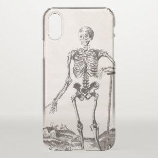 Coque iPhone X Squelette drôle avec l'anatomie d'antiquité de